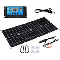 HOMETY 100W 18V Kit de Cargador de BateríA de Panel Solar Semi-Solar Flexible con Controlador