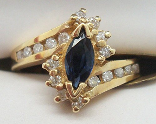 14K Gold .25ct Marquise Blue Compatible for Genuine Natural Sapphire Ring with Diamonds ()