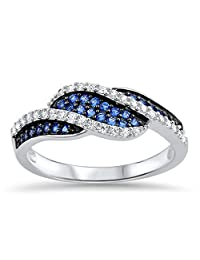 Blue Simulated Sapphire Micro Pave Twist Ring New .925 Sterling Silver Band Sizes 5-10