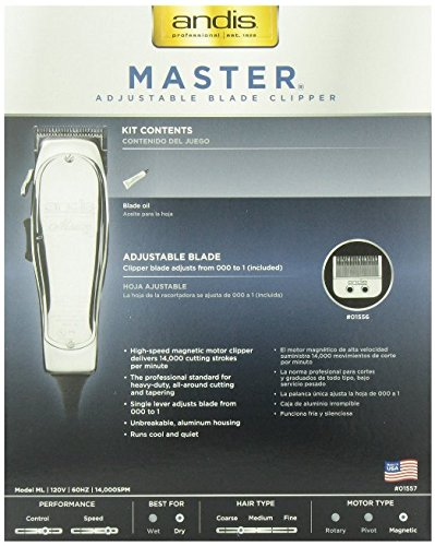 Andis Master Hair Adjustable Blade Clipper, with a Andis Master Dual Magnet 5-Comb Set with a BeauWis Blade Brush by Andis (Image #8)