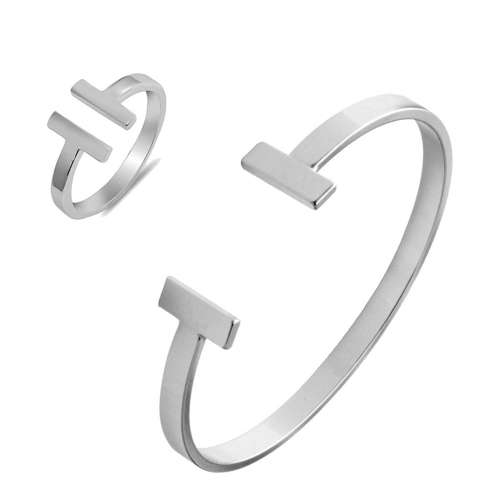 SENFAI Simple Gold Silver Double T Copper Cuff Bracelet (Silver Bracelet + Ring)