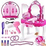 Girls Dressing Make Up Vanity Table, Kids Glamorous Princess Pretend Vanity Desk with Stool, Mirror, Hair Dryer, Best Gift for Girls