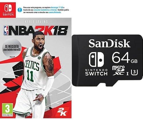 NBA 2K18 + SanDisk - Tarjeta microSDXC de 64 GB para Nintendo ...