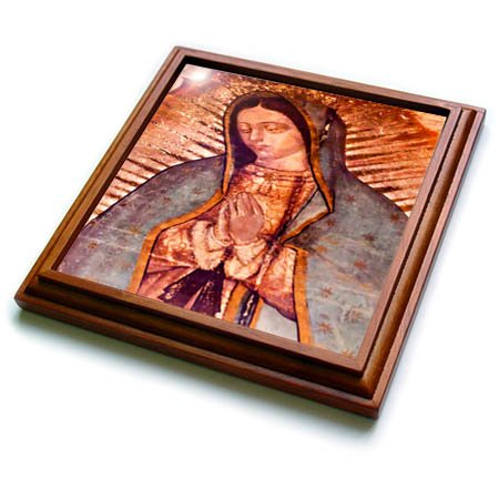 (3dRose trv_258540_1 Virgin Mary Painting, New Shrine of the Guadalupe, Mexico Trivet with Tile, 8