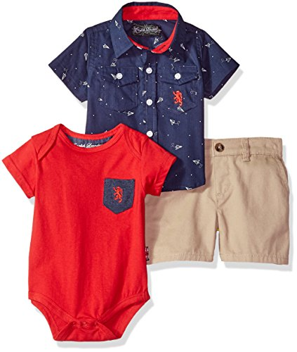 English Laundry Baby Boys Sleeve Woven Shirt, Tee Creeper and Short, Multi Plaid, 3/6M (Woven Shirt Sleeve)