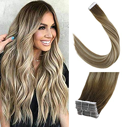 (LaaVoo 14 inch 20 Pcs 40g/Package Real Human Hair Tape in Extension Balayage Ombre Color Ash Brown Fading to Platinum Blonde Double Side Adhesive Straight Hair)