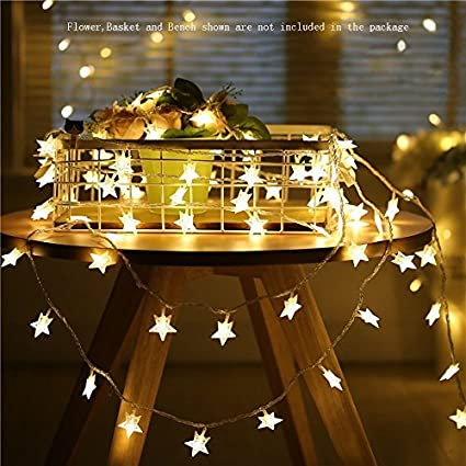 Star String Lights,Battery Operated LED Twinkle Lights 50pcs LED Indoor  Fairy Lights Warm White