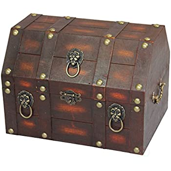 vintiquewise tm antique wooden pirate treasure chest box with lion rings home kitchen. Black Bedroom Furniture Sets. Home Design Ideas