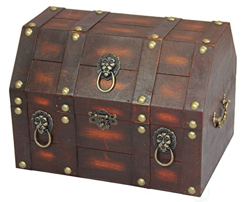 Vintiquewise Antique Wooden Pirate Treasure Chest with with Lion Rings and Lockable Latch, Black