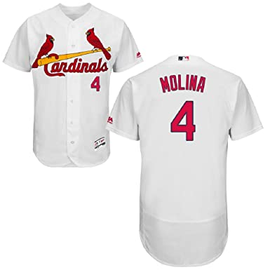 89ad5a061 St. Louis Cardinals Majestic Home Flex Base Authentic Collection Yadier  Molina Jersey-White (