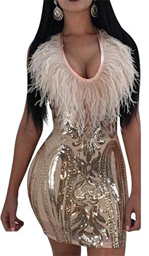 Jaycargogo Des Femmes De Sequins Sexy Sans Manches Décolleté En V Plume Club Robe Moulante Or