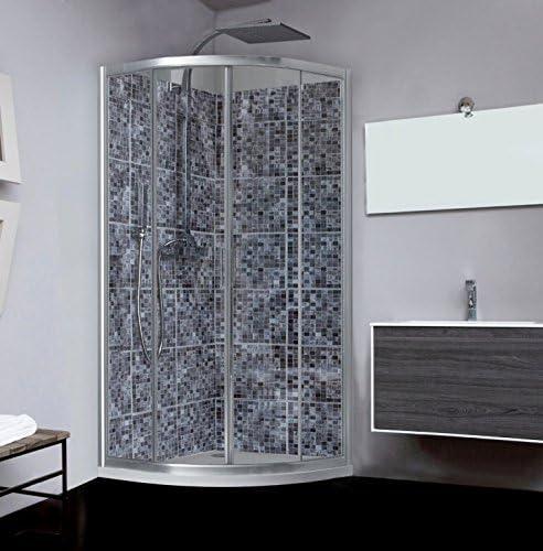 Mampara de ducha Naxos 1/4 redondo puerta corredera cristal ...