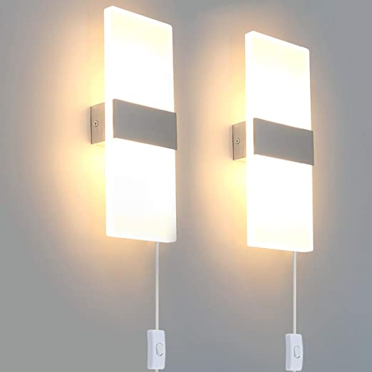 Bjour Modern Wall Sconce Plug In Wall Lights LED Acrylic Wall Mounted Lamp  12W Warm White for Bedroom Living Room, 2 Packs