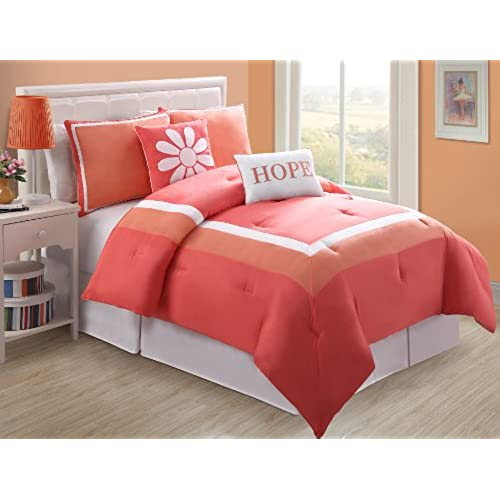 VCNY Hotel Juvi Comforter Set, 4 Piece,Twin, Coral Hope