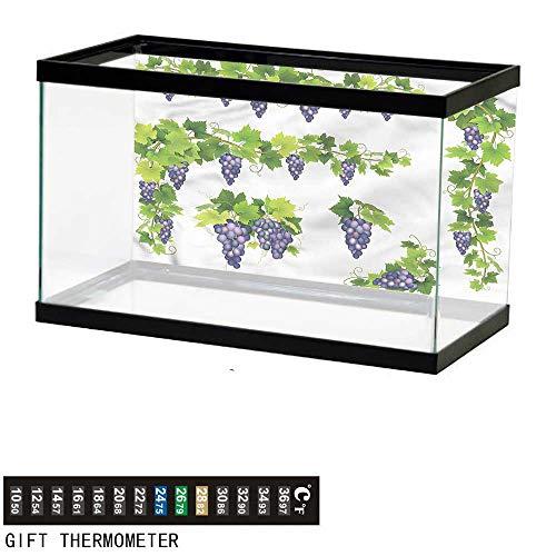 Suchashome Fish Tank Backdrop Vine,Green Leaf Cluster of Berries,Aquarium Background,48