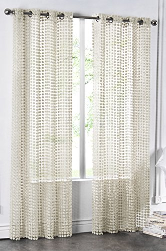 Cheap Regal Home Collections Glamour Open Weave Grommet Panel, 54 by 84-Inch, Beige