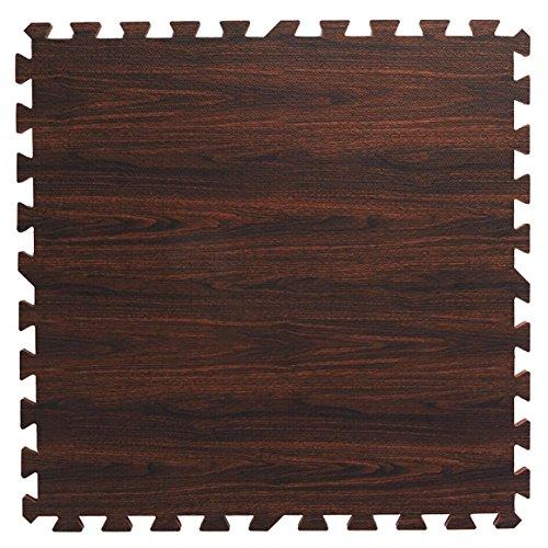 Clevr 100 SqFt EVA Dark Wood Grain Foam Floor Mat Interlocking Walnut Flooring 24 (Select Wood Floors)