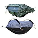 VEEZEEN 3 in 1 Hammock with Mosquito Net and Rain Fly Outdoor Hammocks Tents for Camping