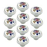 Yahead 10pcs Ceramic Door Knob Vintage Round Shape Flower Locker Pull Handles Drawer Cupboard Cabinet Knobs Wardrobe Home Kitchen Hardware