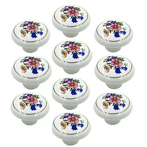 Yahead 10pcs Ceramic Door Knob Vintage Round Shape Flower Locker Pull Handles Drawer Cupboard Cabinet Knobs Wardrobe Home Kitchen Hardware - Flower Cabinet Drawer Pull