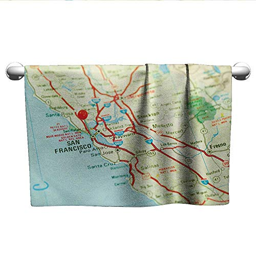 xixiBO Girl Beach Pool Towel W24 x L8 Map,Vintage Map of San Francisco Bay Area with Red Pin City Travel Location,Pale Blue Pale Green Red Absorbent Fabric Softener Towel -