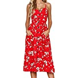 Sale Clearance Womens Spaghetti Strappy Button Down Pocket Ladies Swing Midi Sun Dress