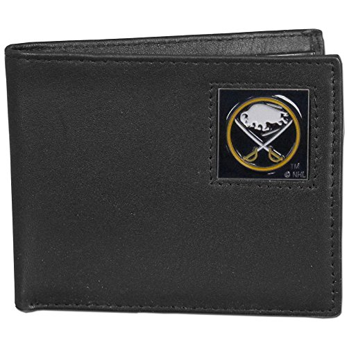 NHL Buffalo Sabres Leather Bi-Fold Wallet Packaged in Gift Box, Black