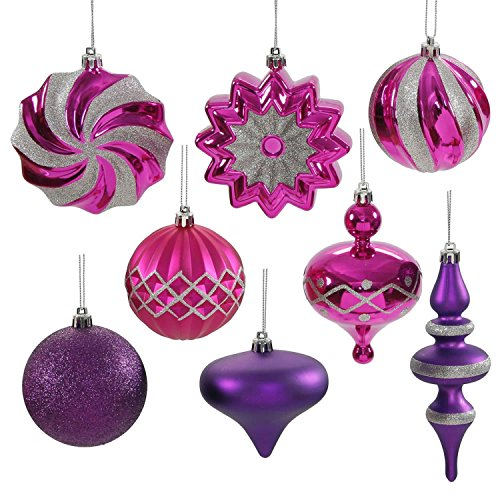 Set of 18 Cerise Pink & Purple Passion Ball, Finial and Onion Shatterproof Christmas Ornaments 3