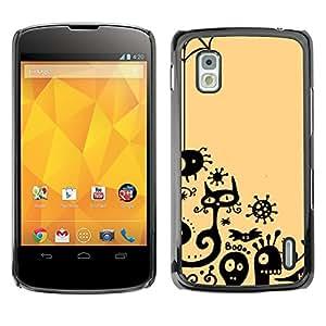 MOBMART Carcasa Funda Case Cover Armor Shell PARA LG Nexus 4 E960 - Scary Dark Animals