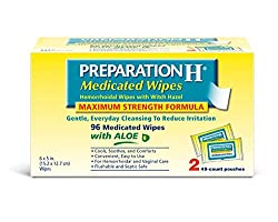 Preparation H (2 X 48 Count, 96 Count) Flushable Medicated Hemorrhoid Wipes, Maximum Strength Relief With Witch Hazel & Aloe, Pouch