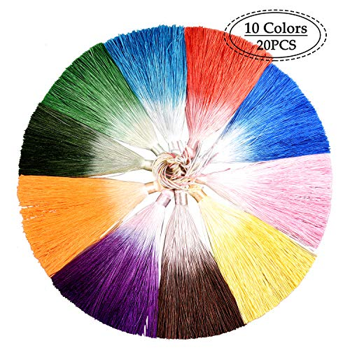 Ice Fringe Tassels, 20 Pcs 26cm/10.24in Wrinkle-Resistant Vertical Hanging Ears Bookmarks Clothing Hairpins Handcrafted Fur Jewelry DIY Project 10Colors 2 Pieces Each (20pcs-6.3in) (colorful-1) ()