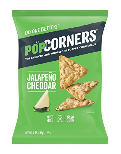 POPCORNERS Jalapeno Cheddar Popped Corn Snacks, Gluten Free, 7oz Bags (Pack of 12) - Packaging May Vary (California Cheddar)