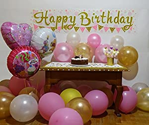 """Perfesto Glow in the Dark Pink and Gold Happy Birthday Wall Banner, 55""""x12.5"""" and Amazing 3D 200 Star Stickers by Perfesto"""