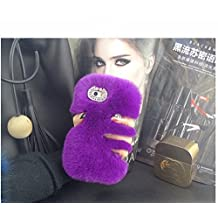 Sony Xperia SP Case - LU2000 Beaver Rabbit Furry Case With Double Ring Bling Crystals Around Camera Hole Fluff Phone Back Cover for Sony Xperia SP M35 M35h C5302 C5303 All Version - Purple