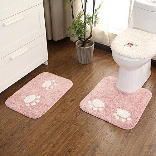ELEOPTION Bath Mat Sets for Bathroom, 2 Piece Non Slip Bathroom Rug Set and Contour Mat Non-Slip Pedestal Super Absorbent Machine Wash (Pink) by ele ELEOPTION (Image #4)