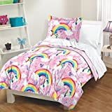 3 Piece Girls Pink Blue Yellow Unicorns Comforter Full Queen Set, Multi Whimsical Design Colorful Rainbow Pony Hearts Clouds Magical Fantasy Themed, Reversible Novelty Kids Bedding Teen Bedroom Cotton