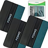 FOSHIO Black Card Squeegee With Green Micro-Fiber Felt Edge 4 Inch Car Vinyl Installing Handy Tool For Auto Vinyl Wrapping, Pack-3
