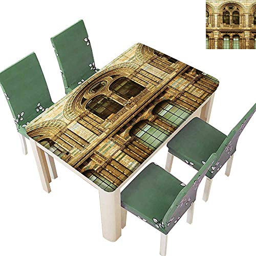 Indoor/Outdoor Polyester Tablecloth Architecture European City Building in London British Culture Art Photo Print Sepia Wedding Party 54 x 102 Inch (Elastic Edge) -