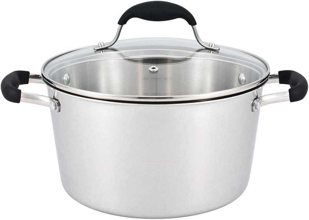 AVACRAFT 18/10 Tri-ply Stainless Steel Multipurpose Pot, Dutch Oven Casserole Stock pot with Lid, Ergonomic Heat Proof Handles, Best Chef's Pan with Glass Lid in Pots and Pans (5 Quart)
