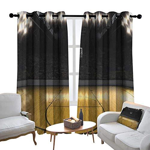 Lewis Coleridge Room Darkening Wide Curtains Teen Room,Empty Basketball Arena Competition Game Winner Champion Success Theme, Pale Coffee Black,Light Blocking Drapes with Liner 100