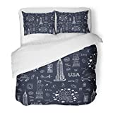 Emvency Bedding Duvet Cover Set Full/Queen (1 Duvet Cover + 2 Pillowcase) Love New York City Pattern USA America Apple Broadway Building Cocktail Culture Hotel Quality Wrinkle and Stain Resistant