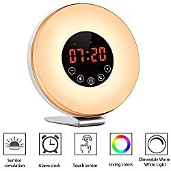 Alarm Clock,Witmoving Bedside Sunrise Simulator with Brightness Automatic Adjustment, 6 Nature Sounds ,FM Radio,Wake Up Light,Easy Set Up via Touch Control,Powered by USB Charger or Wall Jack
