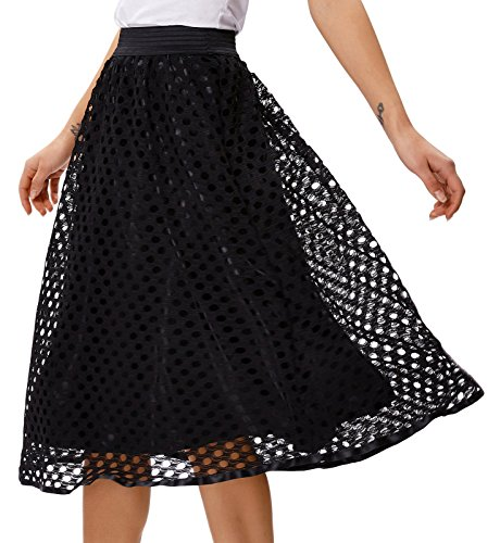 Grace Karin Vintage Retro High Waist Lace Flared Skirt Size XL Black