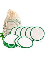 JUNSHUO 20 Stuks Herbruikbare Bamboo Wattenschijfjes, Huidverzorging Gezichtsreinigingsdoekjes - Zero Waste Duurzame Make Up Remover Pads - Wasbare Watjes met Waszakje, Bio Microvezeldoeken