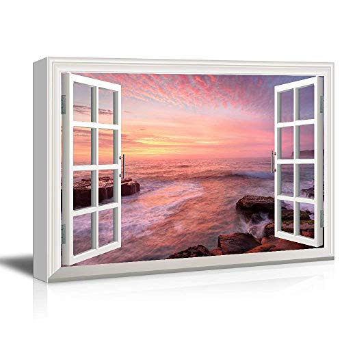 Arts Language Canvas Prints Wall Art - 3D Visual Effect View Through Window Frame Coastal Area with Huge Rocks at Sunset Gallery 12