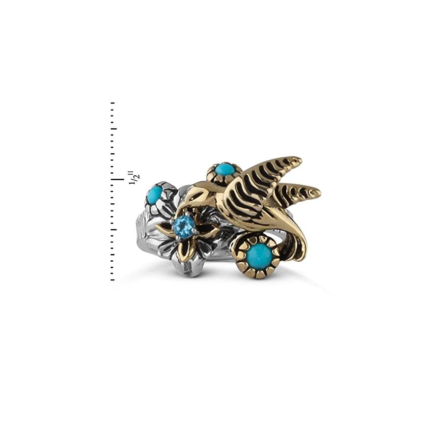 American West Fritz Casuse Sterling Silver Mixed Metal Turquoise Blue Topaz Hummingbird Ring