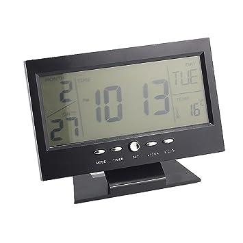 XL-3-LCD sonido de detección electrónico relojes moda calendario reloj digital , black: Amazon.es: Hogar