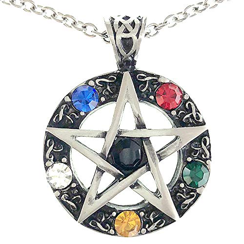 Pewter Star Charm - Ohdeal4U Magic Alchemy Elemental Celtic Pentagram Pentacle Star Crystal Pewter Pendant Charm Amulet Medallion Stainless Steel Necklace