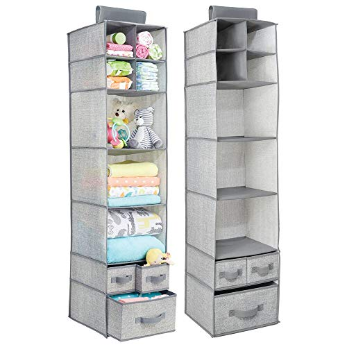 (mDesign Soft Fabric Over Closet Rod Hanging Storage Organizer with 7 Shelves and 3 Removable Drawers for Child/Kids Room or Nursery - Textured Print - 2 Pack - Gray)