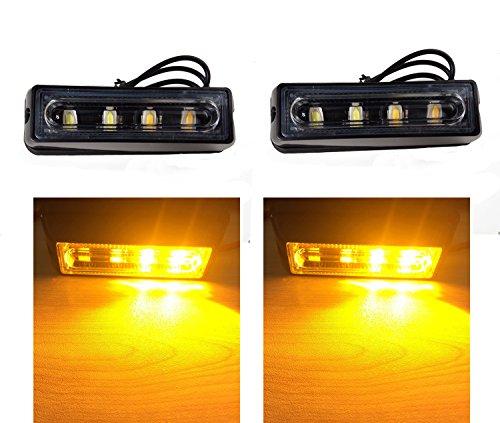 TASWK LED Warning Caution Strobe Lights for Trucks Cars Vehicle Emergency Daytime Runing Lights Flashing Blinker Lights Amber & White (System Strobe Professional Led)